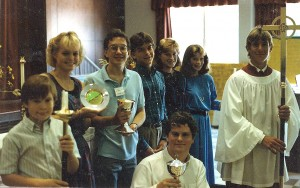 Acolytes donate communion silver