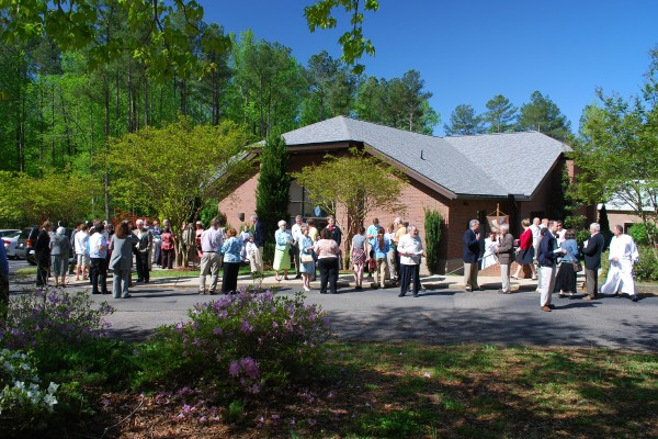 palm sunday parishioners waiting outside the church
