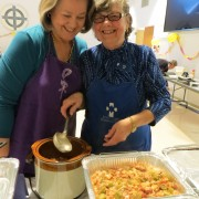 Carol and Gail serving gumbo