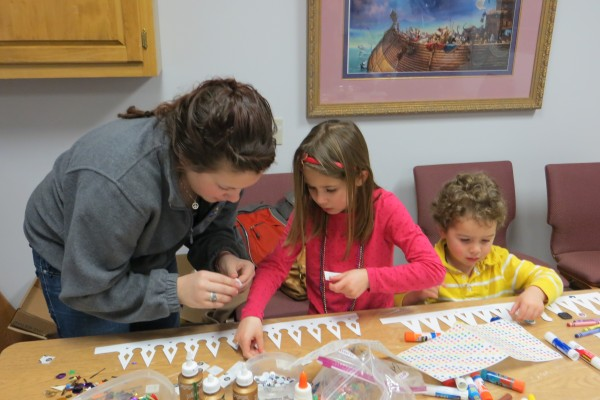 Children making craft items