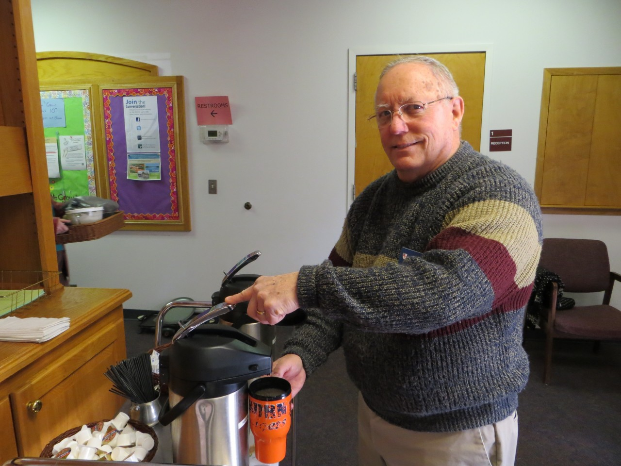 Chris starts the morning with coffee made fresh after each service.