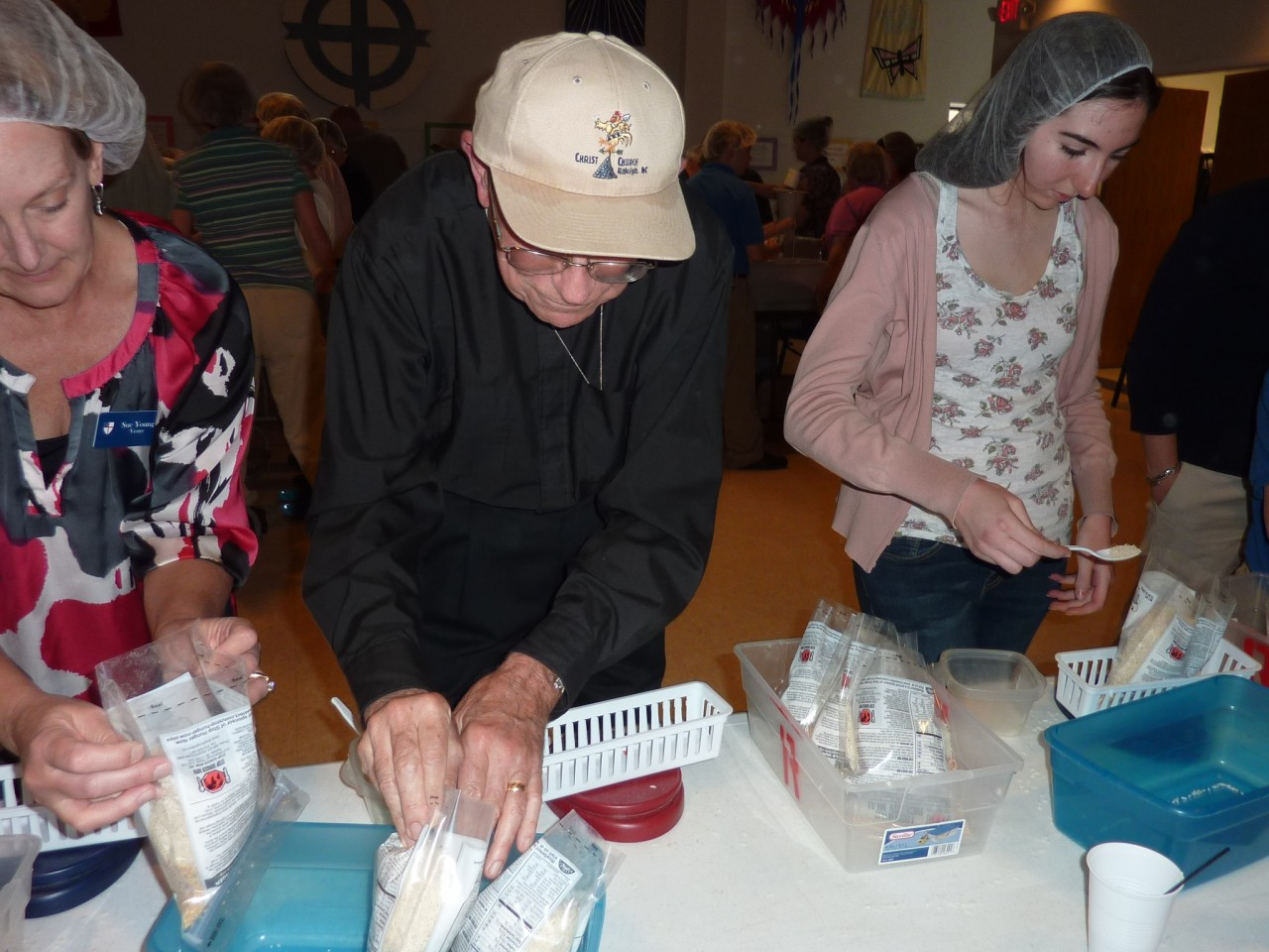 Deacon David packing meals